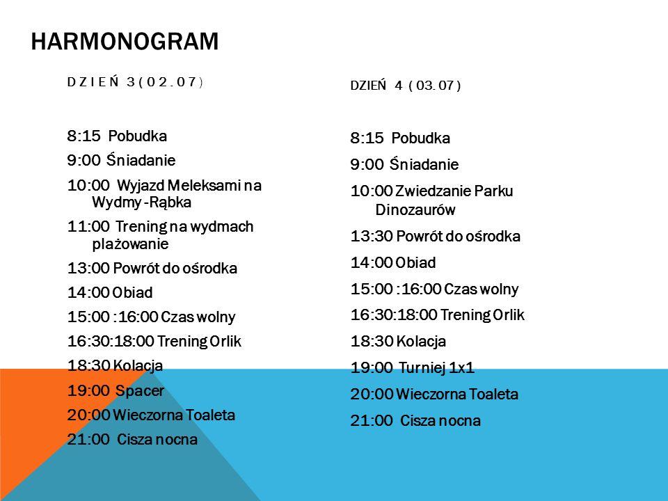 HARMONOGRAM Dzień 3(02.07) DZIEŃ 4 ( 03. 07 )