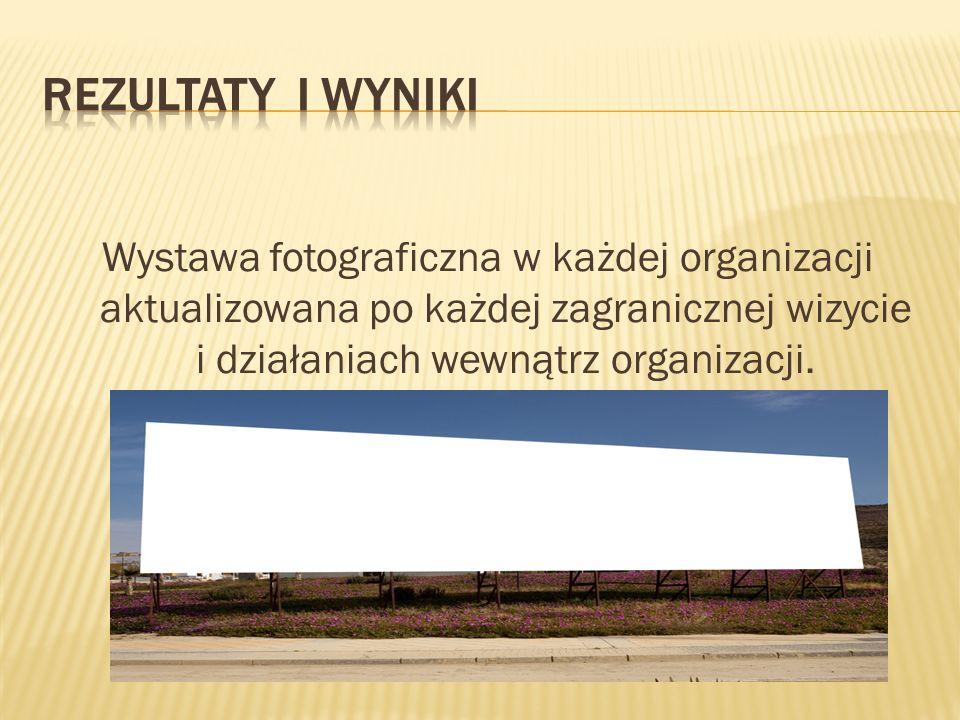 Rezultaty i wyniki Wystawa fotograficzna w każdej organizacji aktualizowana po każdej zagranicznej wizycie i działaniach wewnątrz organizacji.