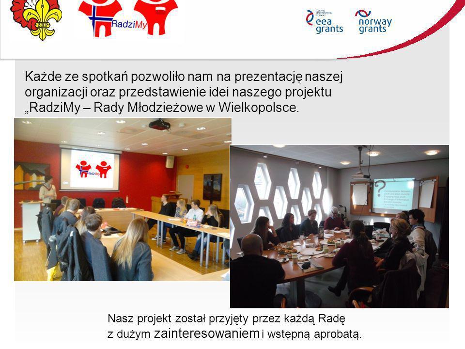 """Każde ze spotkań pozwoliło nam na prezentację naszej organizacji oraz przedstawienie idei naszego projektu """"RadziMy – Rady Młodzieżowe w Wielkopolsce."""