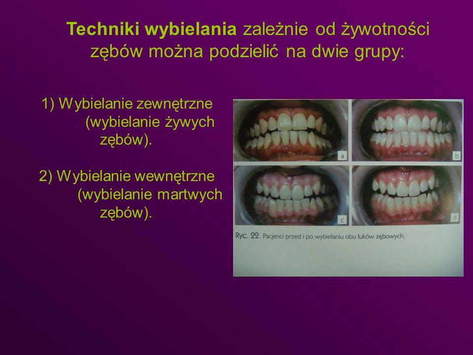 Techniki wybielania zależnie od żywotności zębów można podzielić na dwie grupy: