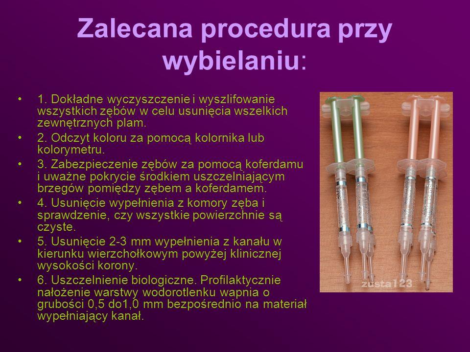 Zalecana procedura przy wybielaniu: