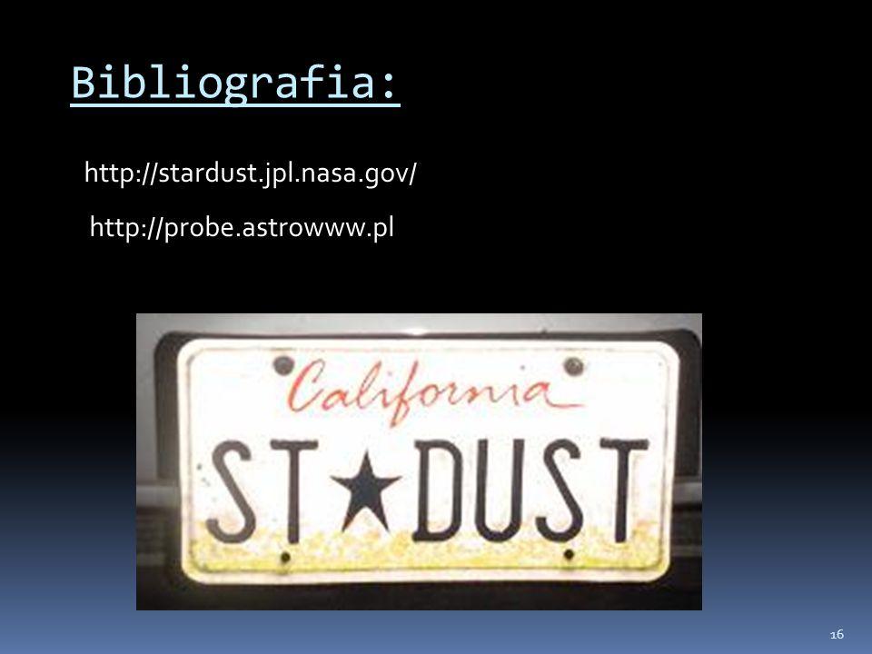 Bibliografia: http://stardust.jpl.nasa.gov/ http://probe.astrowww.pl