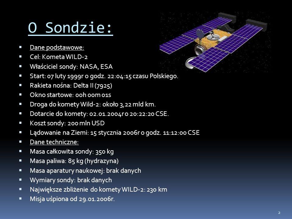O Sondzie: Dane podstawowe: Cel: Kometa WILD-2