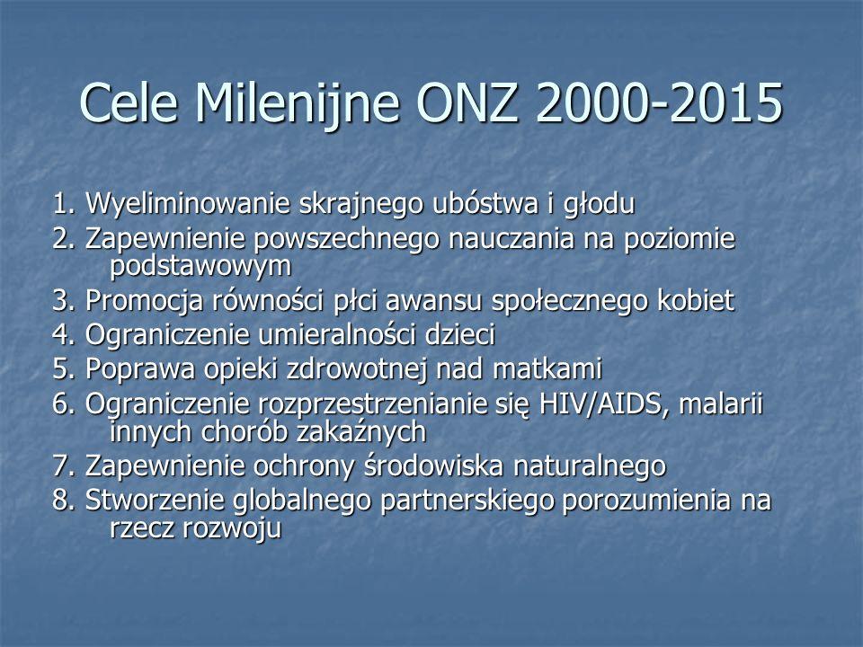 Cele Milenijne ONZ 2000-2015 1. Wyeliminowanie skrajnego ubóstwa i głodu. 2. Zapewnienie powszechnego nauczania na poziomie podstawowym.