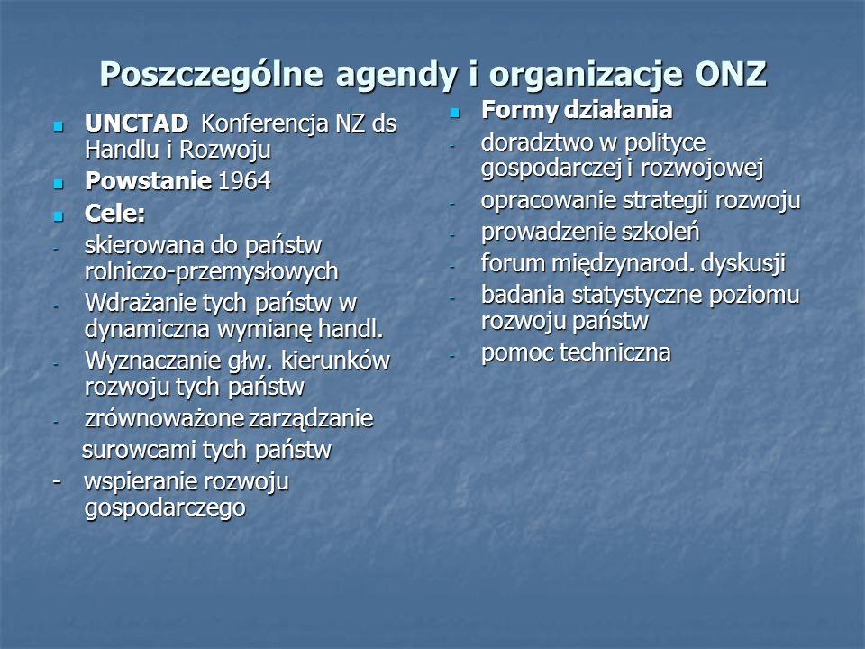 Poszczególne agendy i organizacje ONZ
