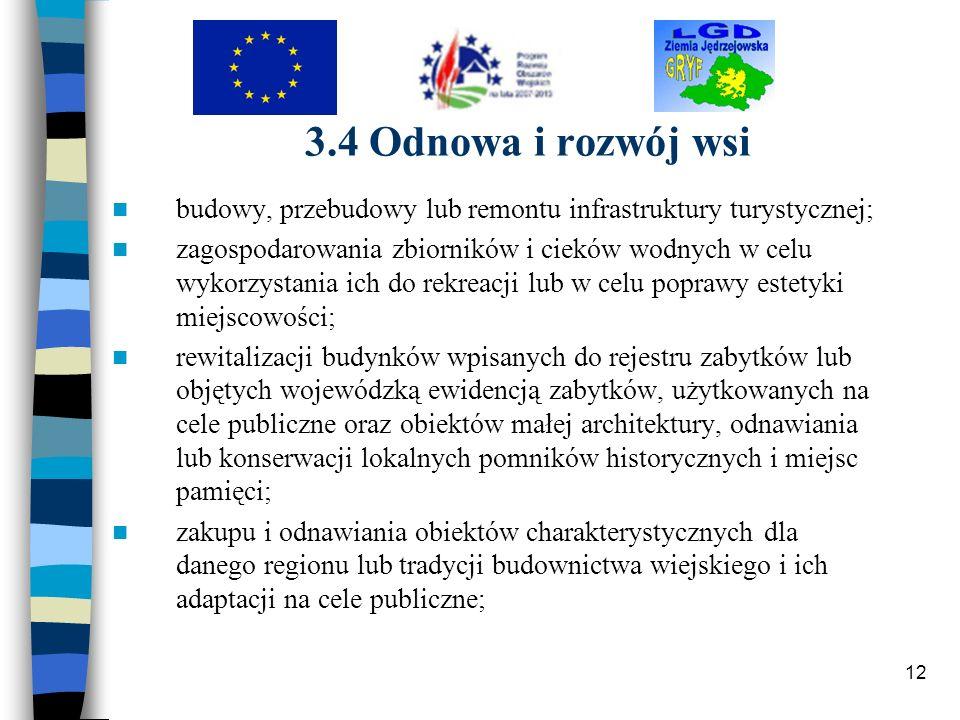 3.4 Odnowa i rozwój wsi budowy, przebudowy lub remontu infrastruktury turystycznej;