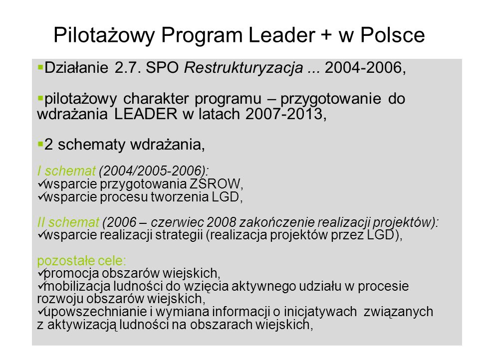Pilotażowy Program Leader + w Polsce