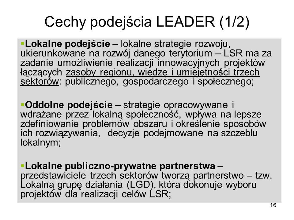 Cechy podejścia LEADER (1/2)