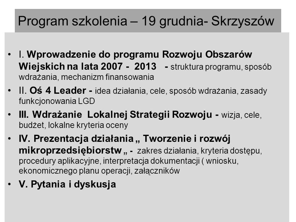 Program szkolenia – 19 grudnia- Skrzyszów