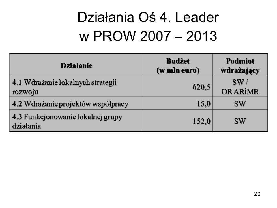 Działania Oś 4. Leader w PROW 2007 – 2013