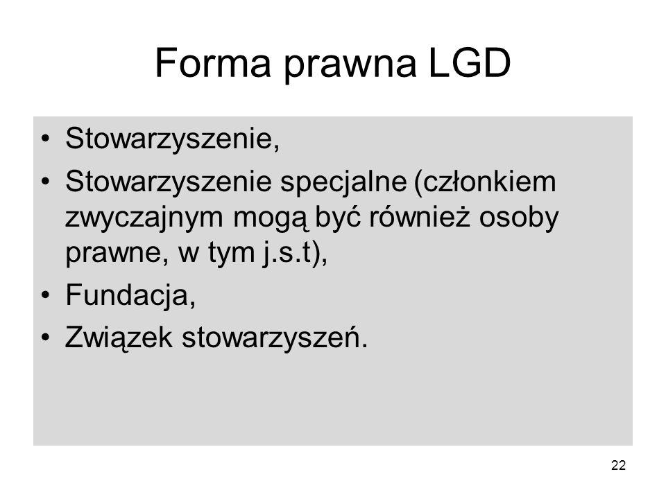 Forma prawna LGD Stowarzyszenie,