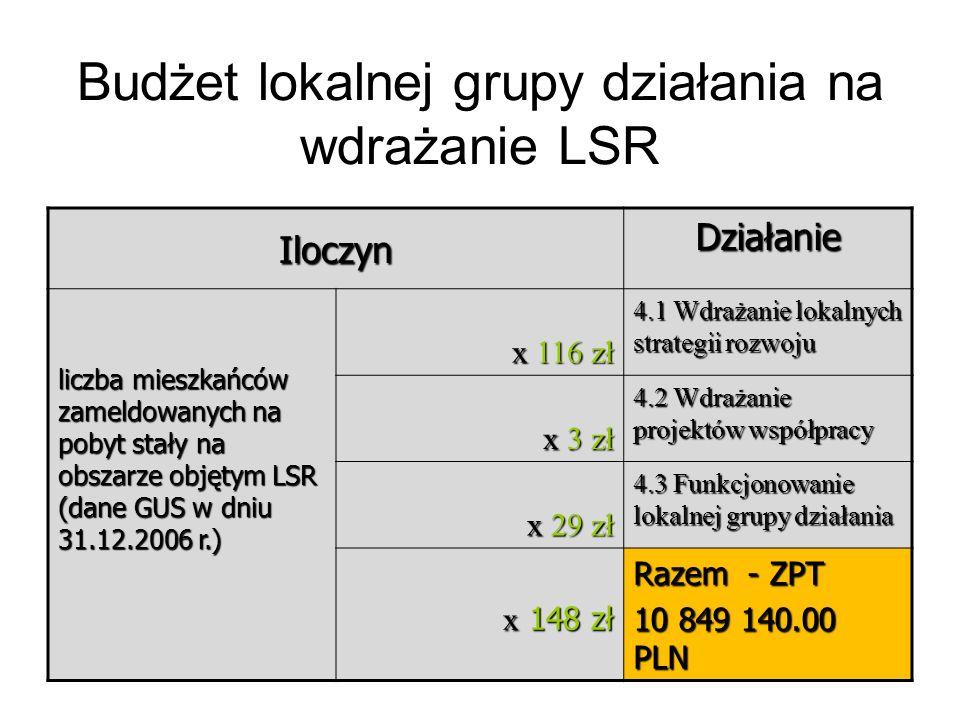 Budżet lokalnej grupy działania na wdrażanie LSR