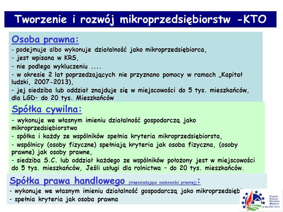 Tworzenie i rozwój mikroprzedsiębiorstw -KTO