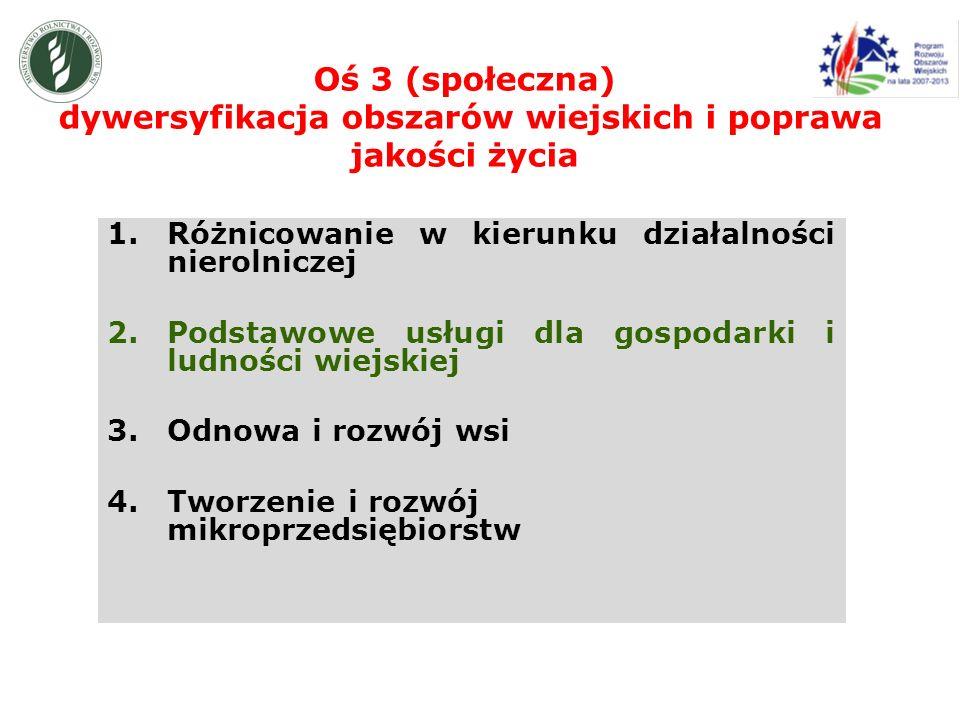 Oś 3 (społeczna) dywersyfikacja obszarów wiejskich i poprawa jakości życia