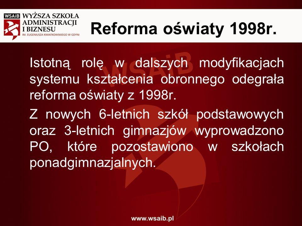 Reforma oświaty 1998r. Istotną rolę w dalszych modyfikacjach systemu kształcenia obronnego odegrała reforma oświaty z 1998r.