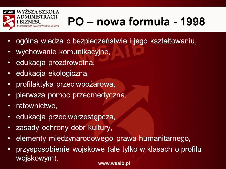 PO – nowa formuła - 1998 ogólna wiedza o bezpieczeństwie i jego kształtowaniu, wychowanie komunikacyjne,