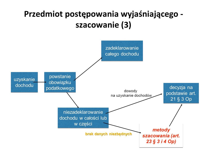 Przedmiot postępowania wyjaśniającego - szacowanie (3)