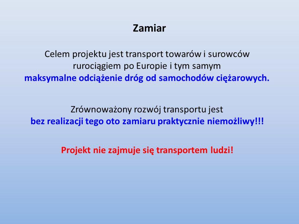 Zamiar Celem projektu jest transport towarów i surowców rurociągiem po Europie i tym samym. maksymalne odciążenie dróg od samochodów ciężarowych.