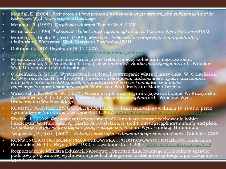 Meighan, R. (1993). Socjologia edukacji. Toruń: Wyd. UMK
