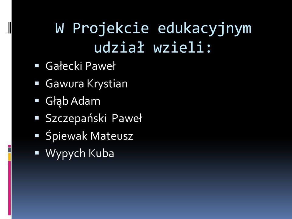 W Projekcie edukacyjnym udział wzieli: