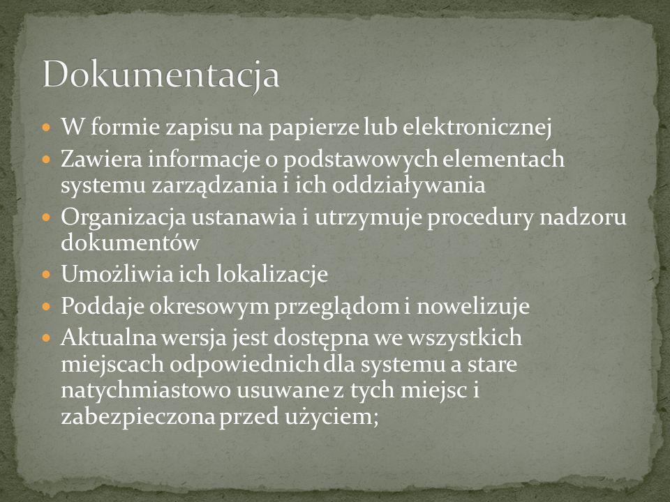 Dokumentacja W formie zapisu na papierze lub elektronicznej