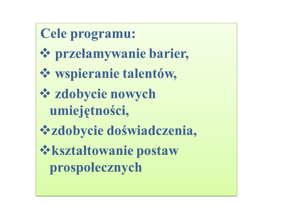 Cele programu: przełamywanie barier, wspieranie talentów, zdobycie nowych umiejętności, zdobycie doświadczenia,