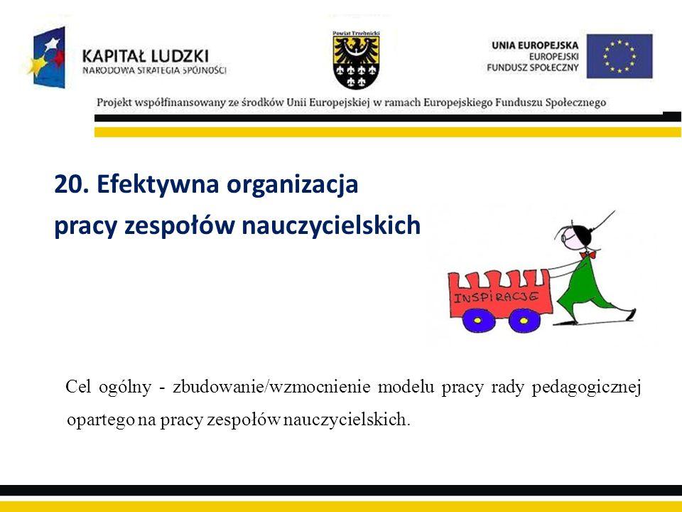 20. Efektywna organizacja pracy zespołów nauczycielskich