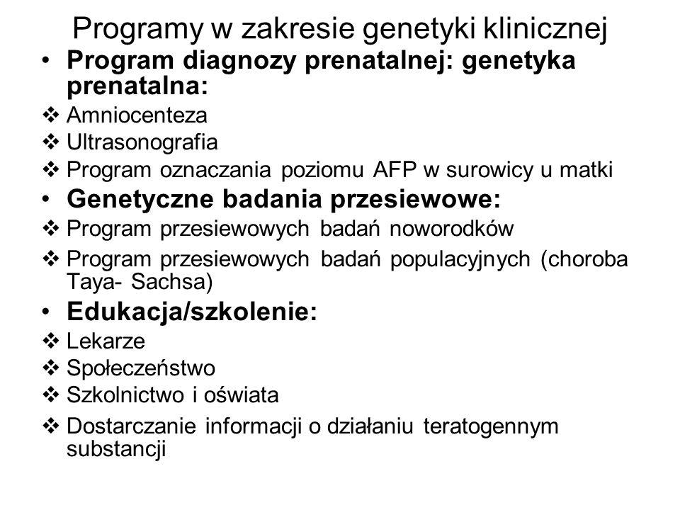 Programy w zakresie genetyki klinicznej