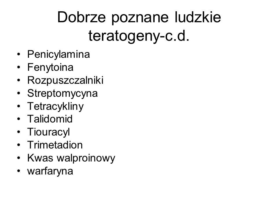 Dobrze poznane ludzkie teratogeny-c.d.