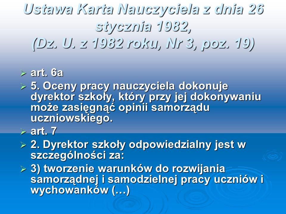 Ustawa Karta Nauczyciela z dnia 26 stycznia 1982, (Dz. U