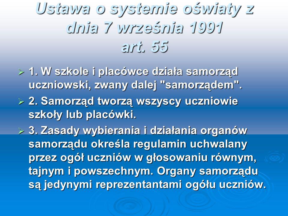 Ustawa o systemie oświaty z dnia 7 września 1991 art. 55