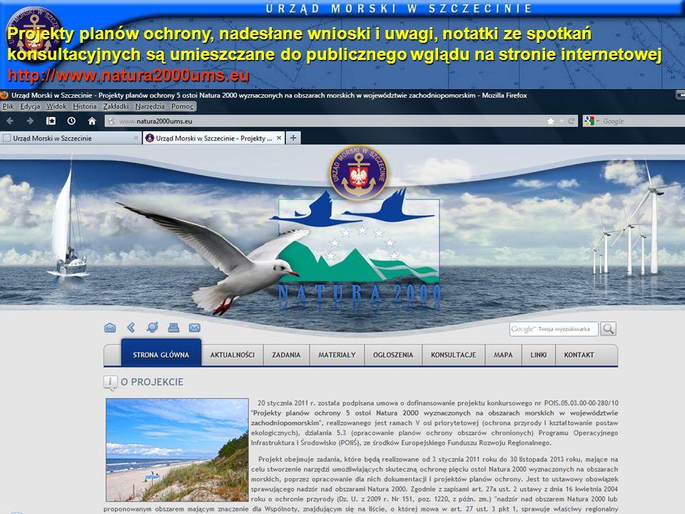 Projekty planów ochrony, nadesłane wnioski i uwagi, notatki ze spotkań konsultacyjnych są umieszczane do publicznego wglądu na stronie internetowej http://www.natura2000ums.eu