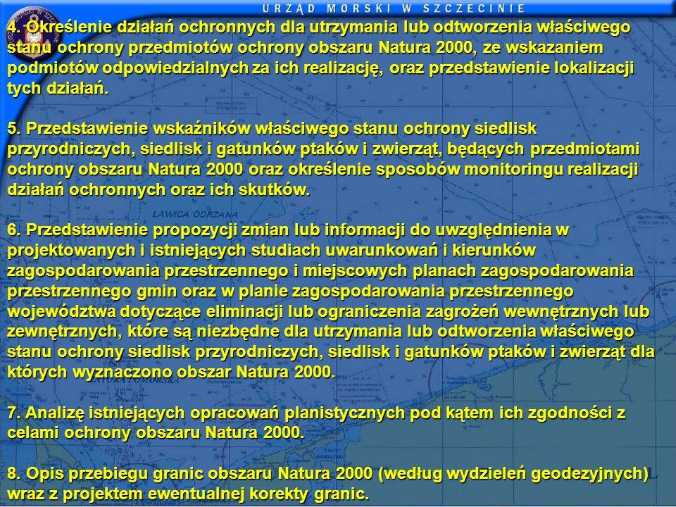4. Określenie działań ochronnych dla utrzymania lub odtworzenia właściwego stanu ochrony przedmiotów ochrony obszaru Natura 2000, ze wskazaniem podmiotów odpowiedzialnych za ich realizację, oraz przedstawienie lokalizacji tych działań.