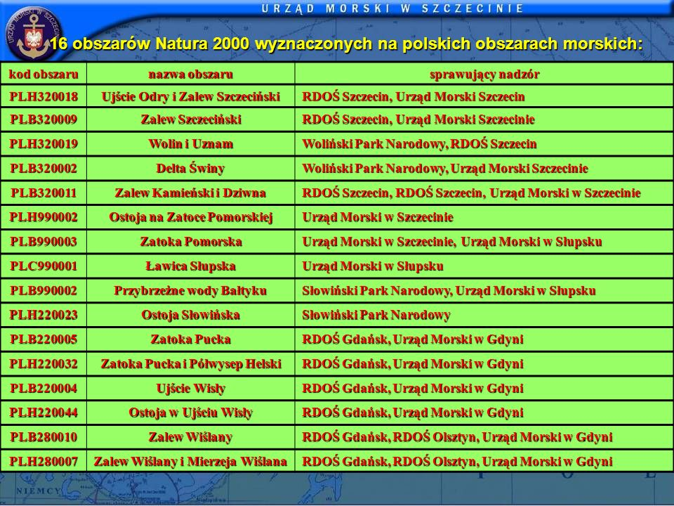 16 obszarów Natura 2000 wyznaczonych na polskich obszarach morskich: