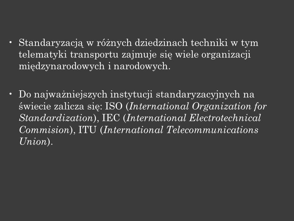 Standaryzacją w różnych dziedzinach techniki w tym telematyki transportu zajmuje się wiele organizacji międzynarodowych i narodowych.