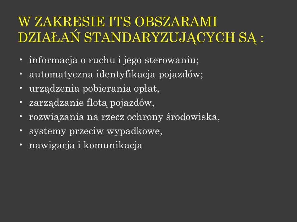 W zakresie ITS obszarami działań standaryzujących są :