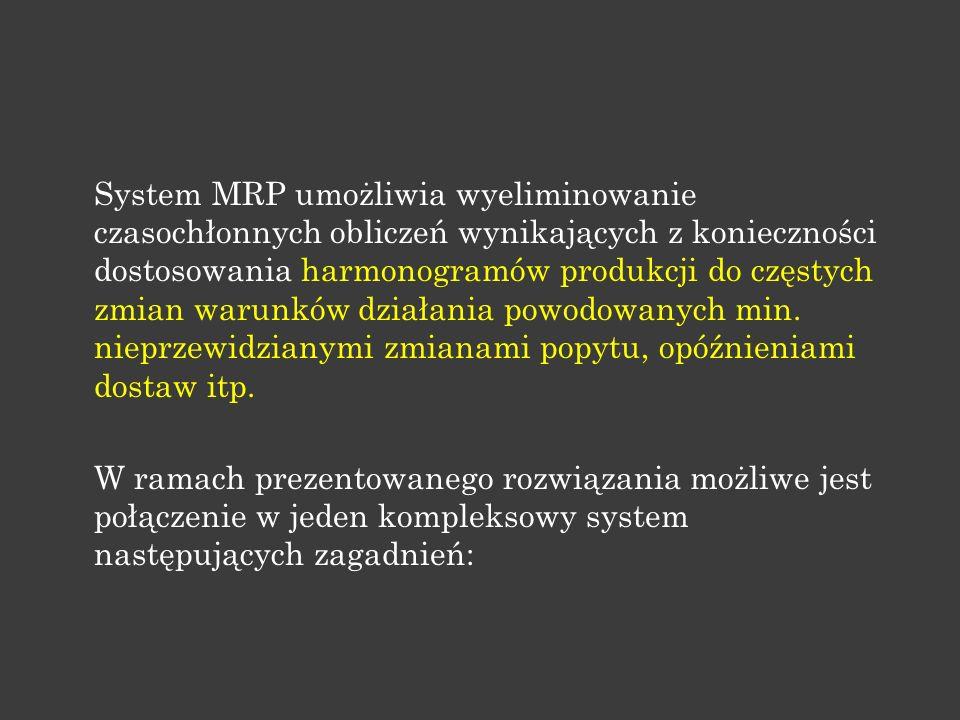 System MRP umożliwia wyeliminowanie czasochłonnych obliczeń wynikających z konieczności dostosowania harmonogramów produkcji do częstych zmian warunków działania powodowanych min.