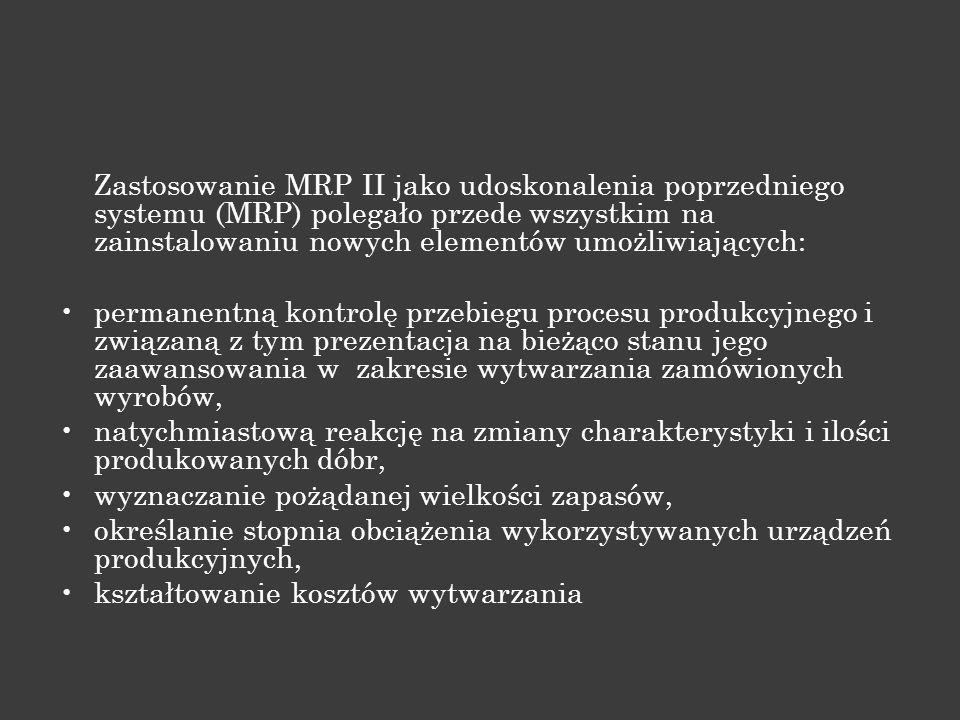 Zastosowanie MRP II jako udoskonalenia poprzedniego systemu (MRP) polegało przede wszystkim na zainstalowaniu nowych elementów umożliwiających:
