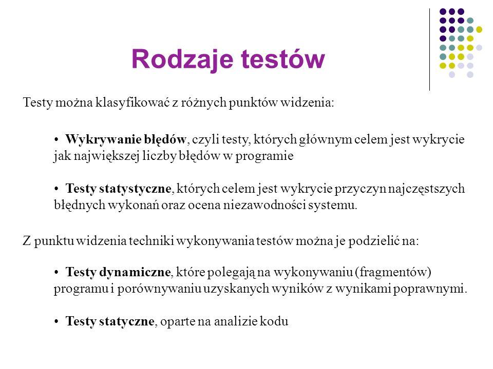 Rodzaje testów Testy można klasyfikować z różnych punktów widzenia: