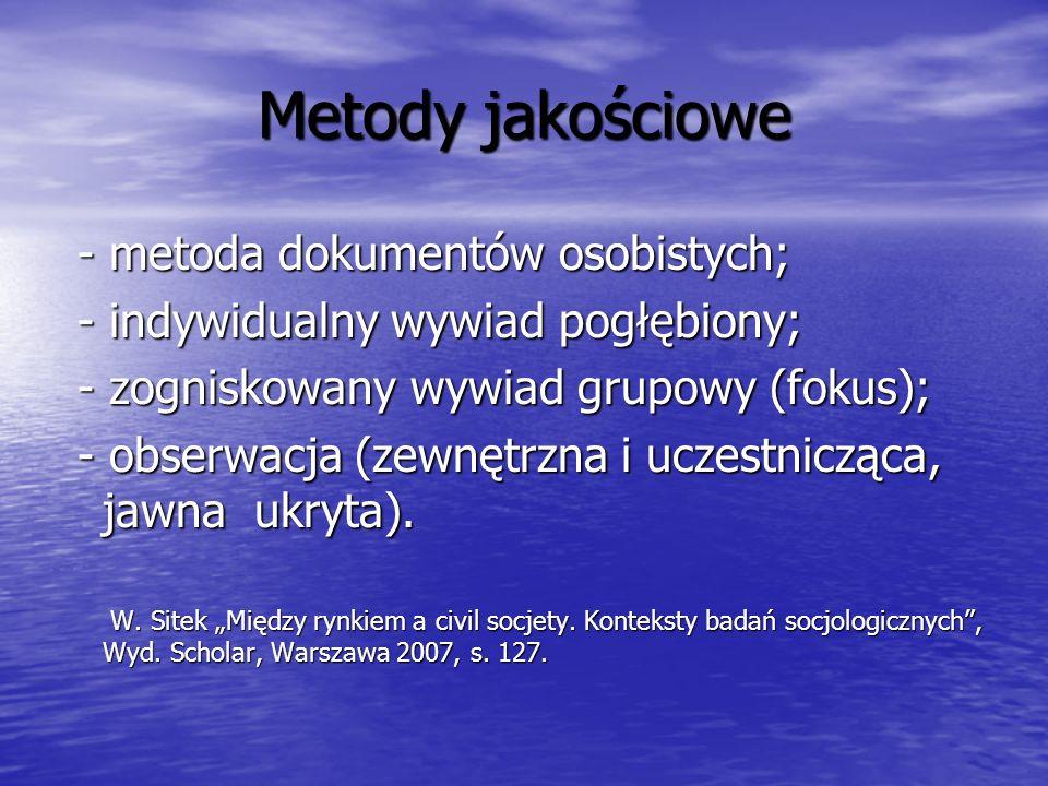 Metody jakościowe - metoda dokumentów osobistych;