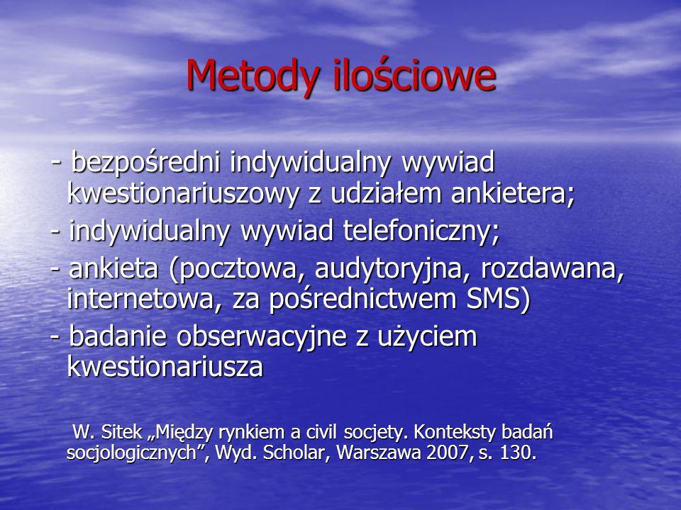 Metody ilościowe - bezpośredni indywidualny wywiad kwestionariuszowy z udziałem ankietera; - indywidualny wywiad telefoniczny;