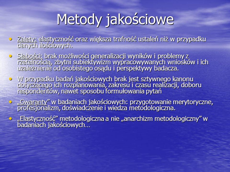 Metody jakościowe Zalety: elastyczność oraz większa trafność ustaleń niż w przypadku danych ilościowych.