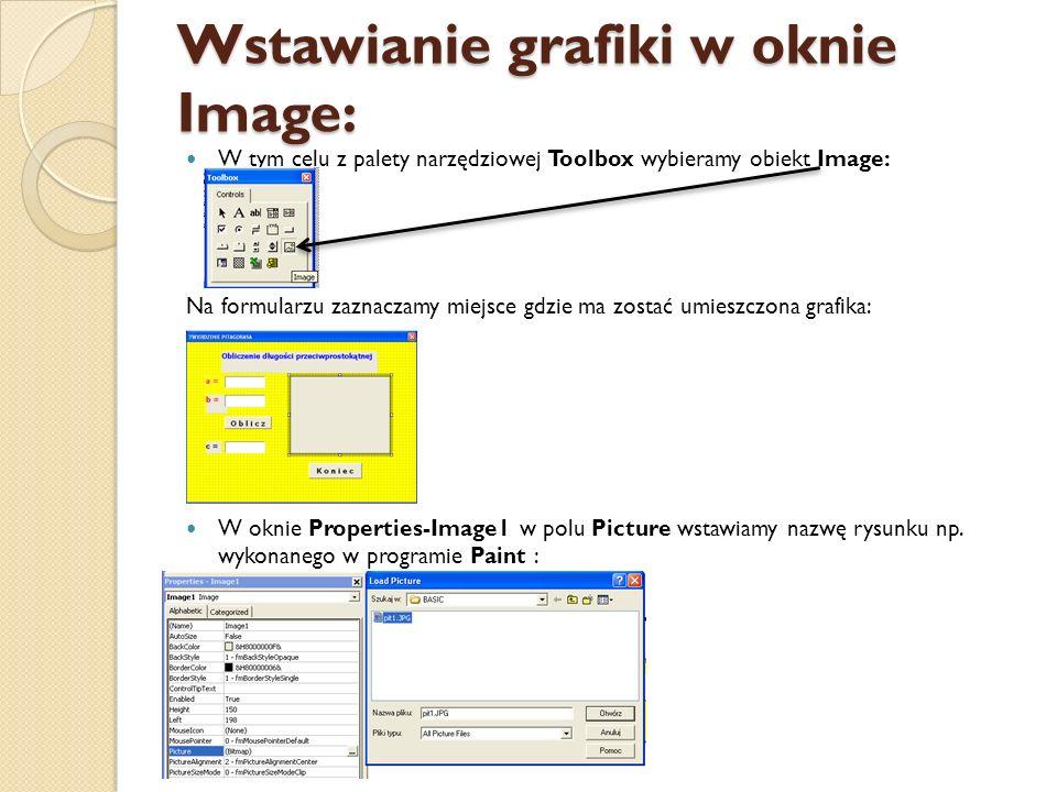 Wstawianie grafiki w oknie Image: