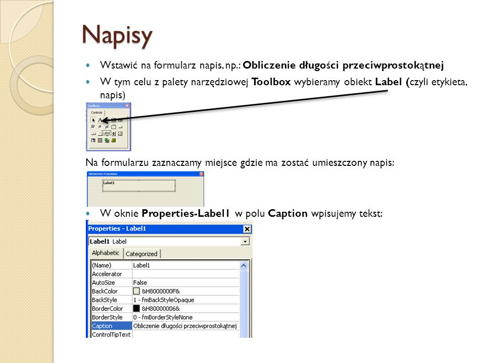 Napisy Wstawić na formularz napis, np.: Obliczenie długości przeciwprostokątnej.
