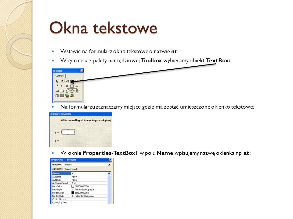 Okna tekstowe Wstawić na formularz okno tekstowe o nazwie at.