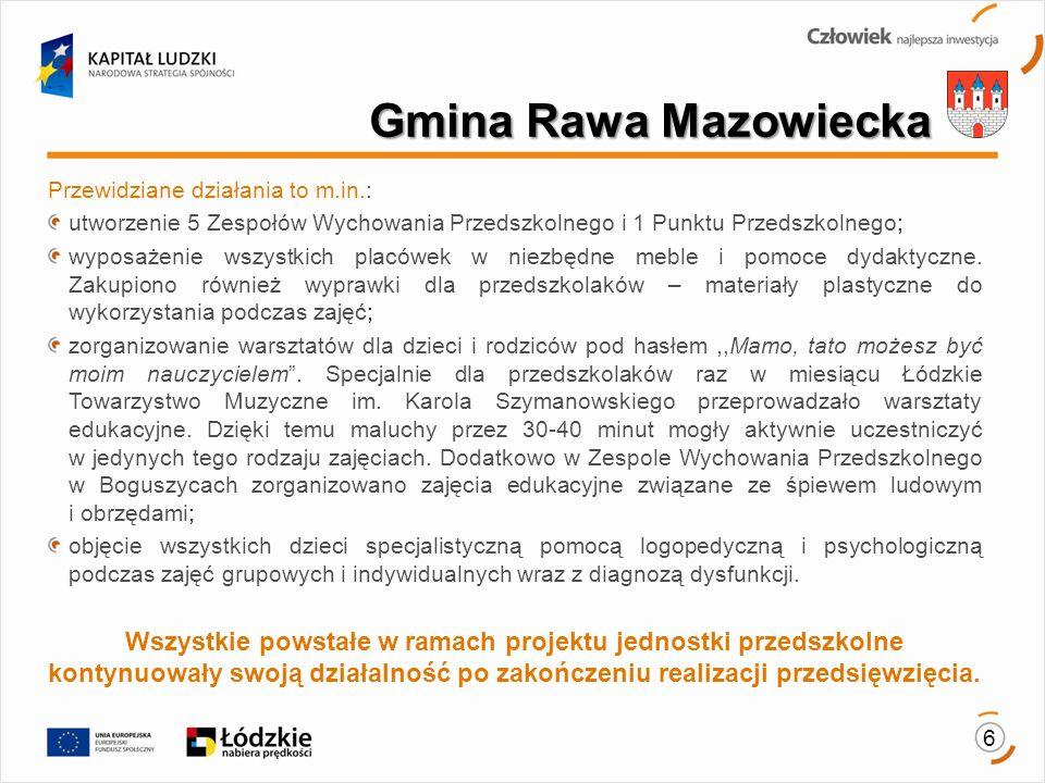 Gmina Rawa Mazowiecka Przewidziane działania to m.in.: utworzenie 5 Zespołów Wychowania Przedszkolnego i 1 Punktu Przedszkolnego;