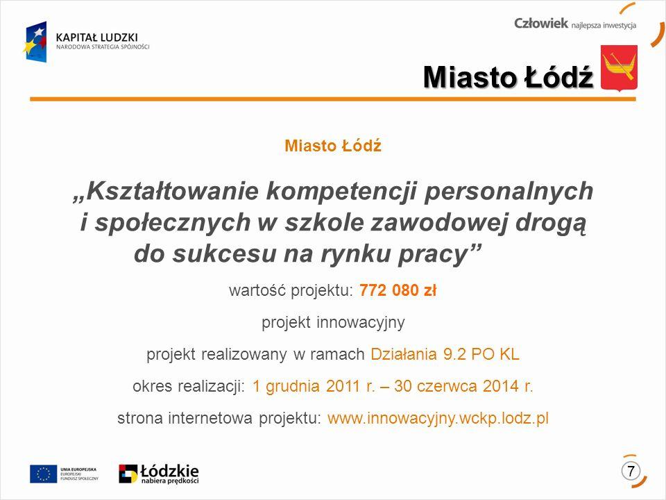"""Miasto Łódź Miasto Łódź. """"Kształtowanie kompetencji personalnych i społecznych w szkole zawodowej drogą do sukcesu na rynku pracy"""