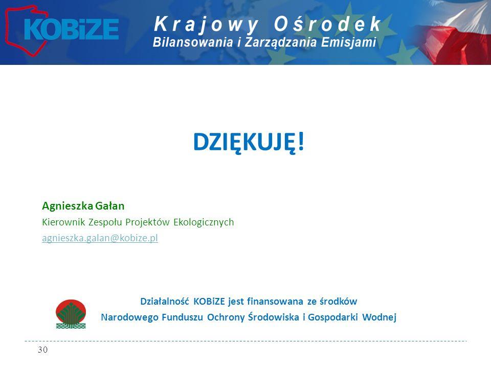 DZIĘKUJĘ! Agnieszka Gałan Kierownik Zespołu Projektów Ekologicznych