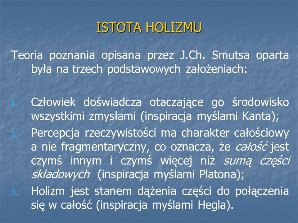 ISTOTA HOLIZMU Teoria poznania opisana przez J.Ch. Smutsa oparta była na trzech podstawowych założeniach: