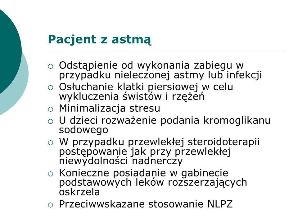 Pacjent z astmą Odstąpienie od wykonania zabiegu w przypadku nieleczonej astmy lub infekcji.